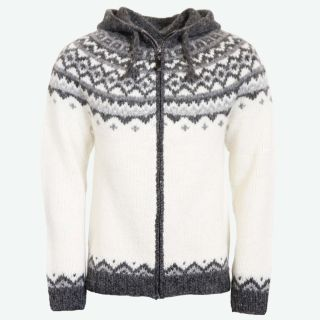 Skjöldur Icelandic wool jumper zip and hood