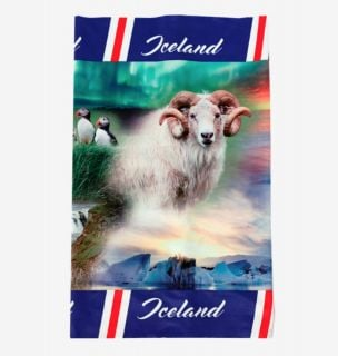 Multi scarf with pictures of Iceland One Size