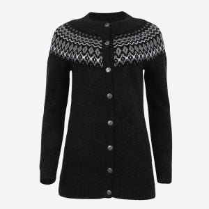 Ásthildur merino Nordic knit buttoned long sweater