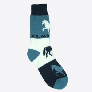 Blue socks with Icelandic horse