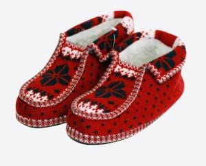 Knitted moccasin slippers
