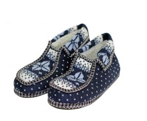 Knitted moccasin slippers blue 43