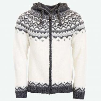 Skjöldur Icelandic wool sweater zip & hood