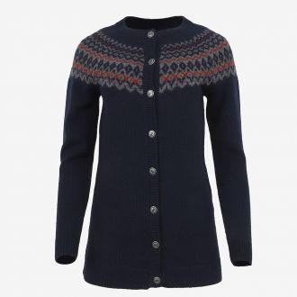 Ásthildur merino Nordic knit buttoned long sweater