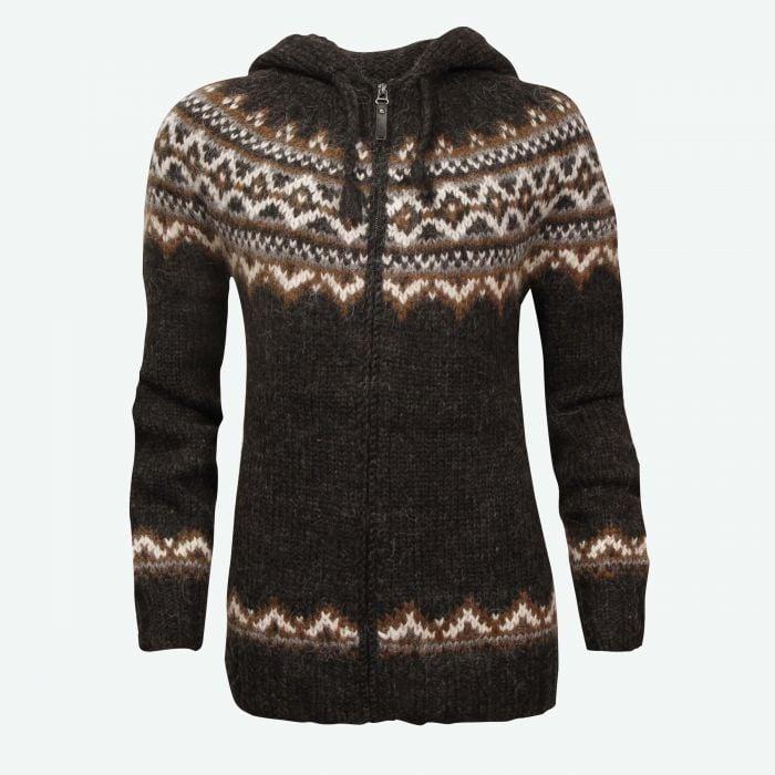 Brynja Icelandic wool sweater zip and hood