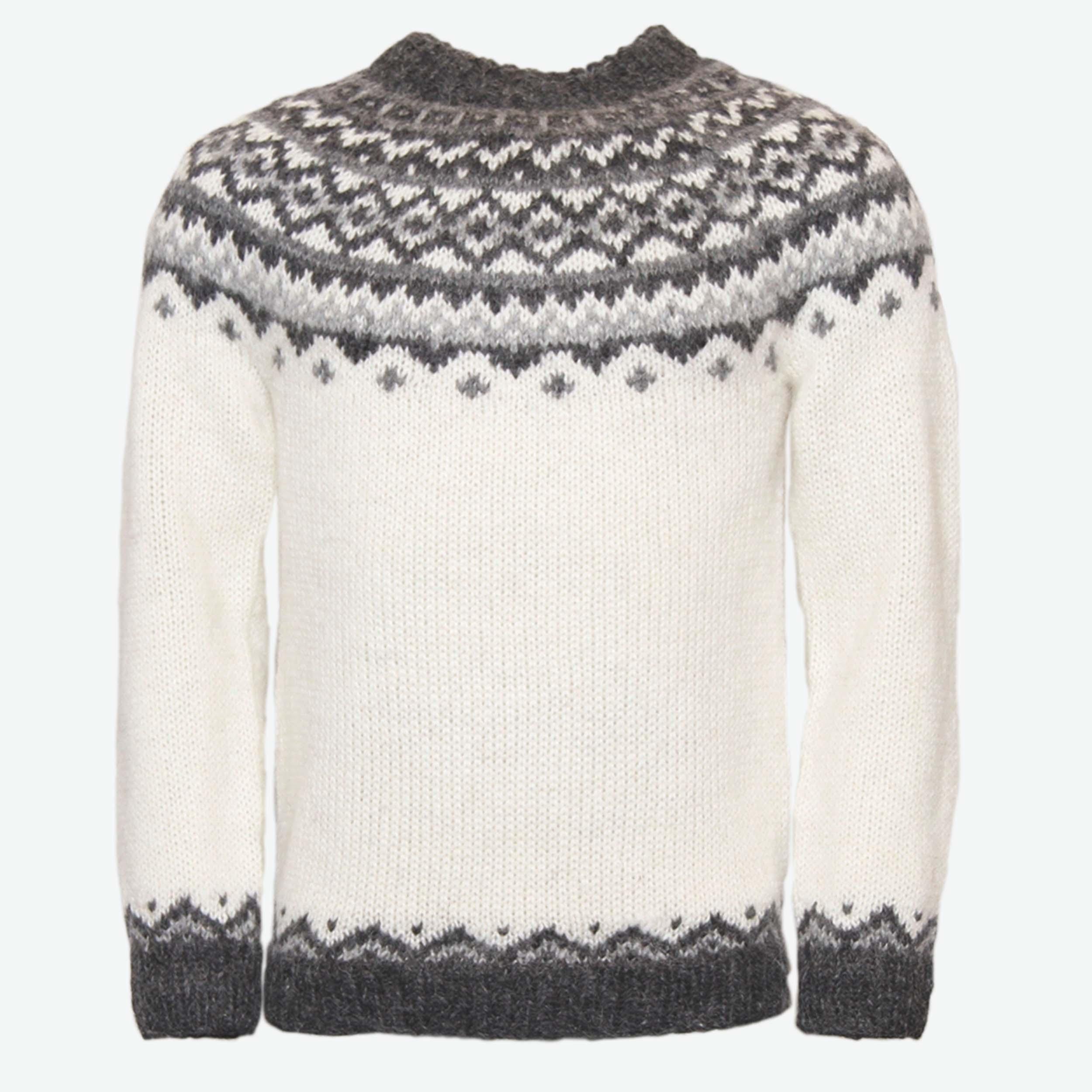 ICEWEAR Skj/öldur Handgestrickter Pullover aus 100 /% isl/ändischer Wolle mit Rei/ßverschluss und Kapuze.