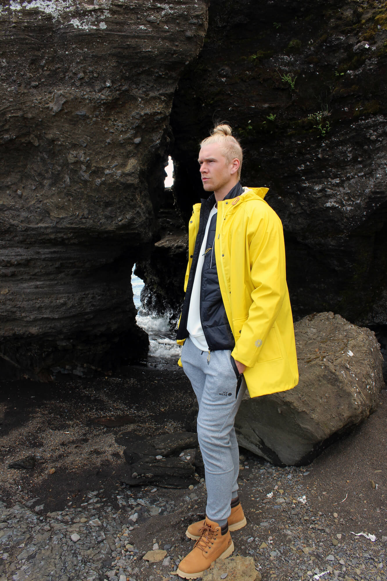 man iceland outdoor yellow rainjacket