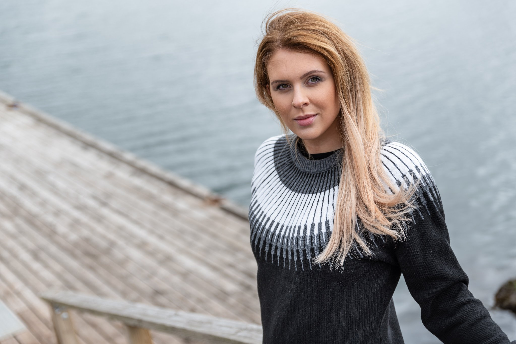 woman with Nordic sweater pattern